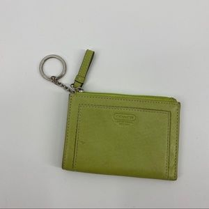 VTG Coach Green Leather Keychain Card Holder